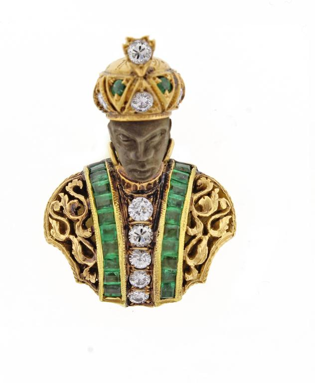 Nardi Emerald Diamond Gold Blackamoor Brooch 3