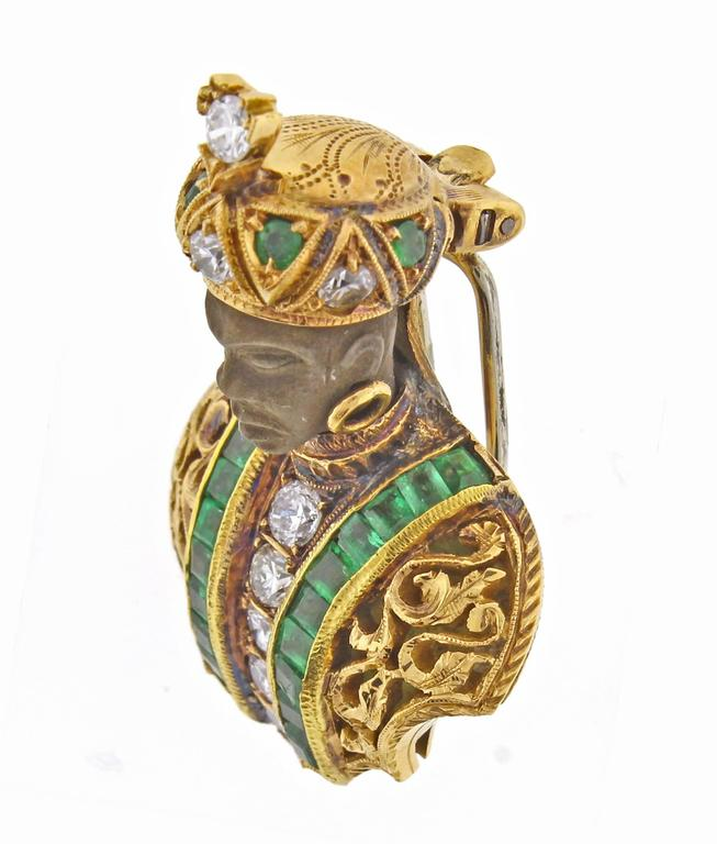 Nardi Emerald Diamond Gold Blackamoor Brooch 4