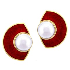 Leo De Vroomen Mabe Pearl and Enamel Earrings