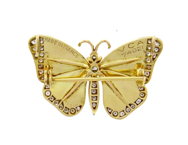 Van Cleef & Arpels Diamond Enamel Butterfly Necklace-Brooch In Excellent Condition For Sale In Bethesda, MD