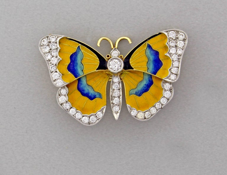 Women's or Men's Van Cleef & Arpels Diamond Enamel Butterfly Necklace-Brooch For Sale