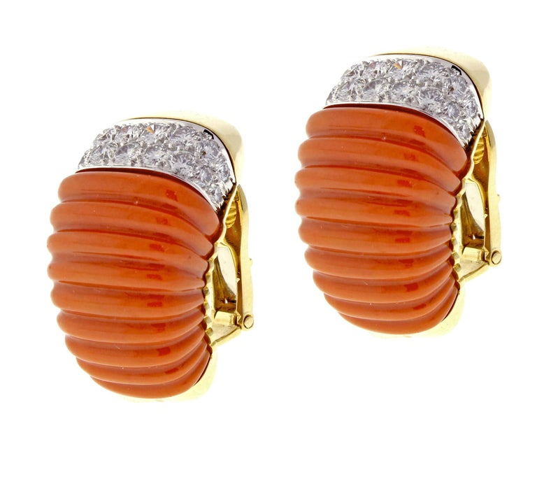 Round Cut David Webb Coral and Diamond Earrings For Sale