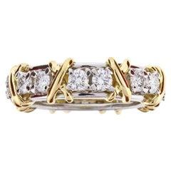 Tiffany & Co. Schlumberger 16-Stone Diamond Gold X-Ring