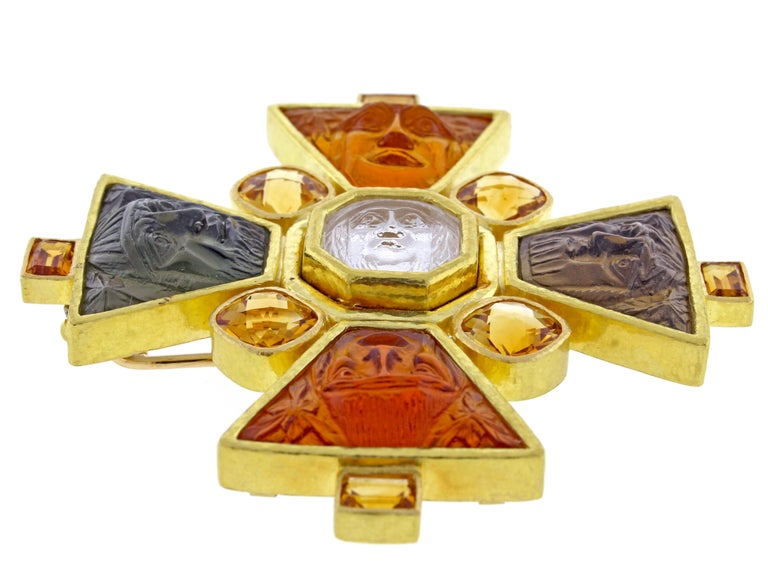 Elizabeth Locke Bomarzo Large Citrine Gold Maltese Cross Brooch Pendant In Excellent Condition For Sale In Bethesda, MD
