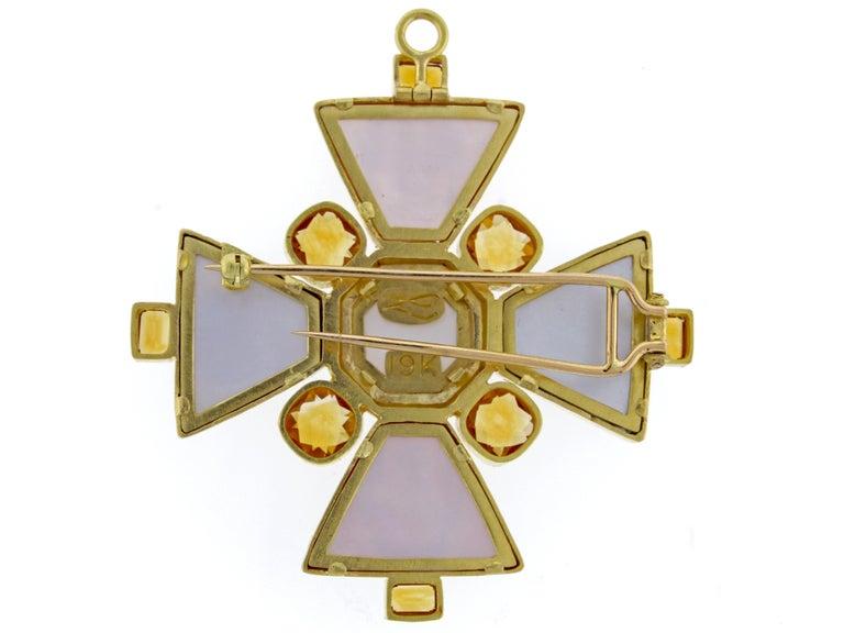 Women's or Men's Elizabeth Locke Bomarzo Large Citrine Gold Maltese Cross Brooch Pendant For Sale