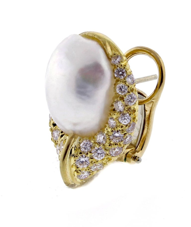 Henry Dunay Baroque Pearl and Diamond Earring In Excellent Condition For Sale In Bethesda, MD