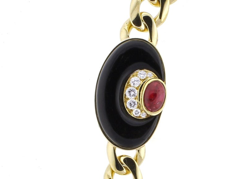 Bvlgari Diamond, Black Onyx and Ruby Necklace In Excellent Condition For Sale In Bethesda, MD