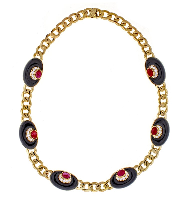 Bvlgari Diamond, Black Onyx and Ruby Necklace For Sale