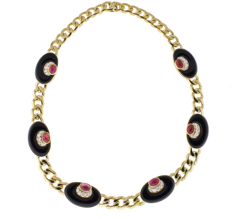 Women's or Men's Bvlgari Diamond, Black Onyx and Ruby Necklace For Sale