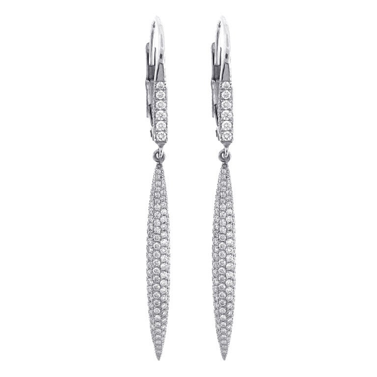 Pampillonia Diamond Drop Earrings For Sale