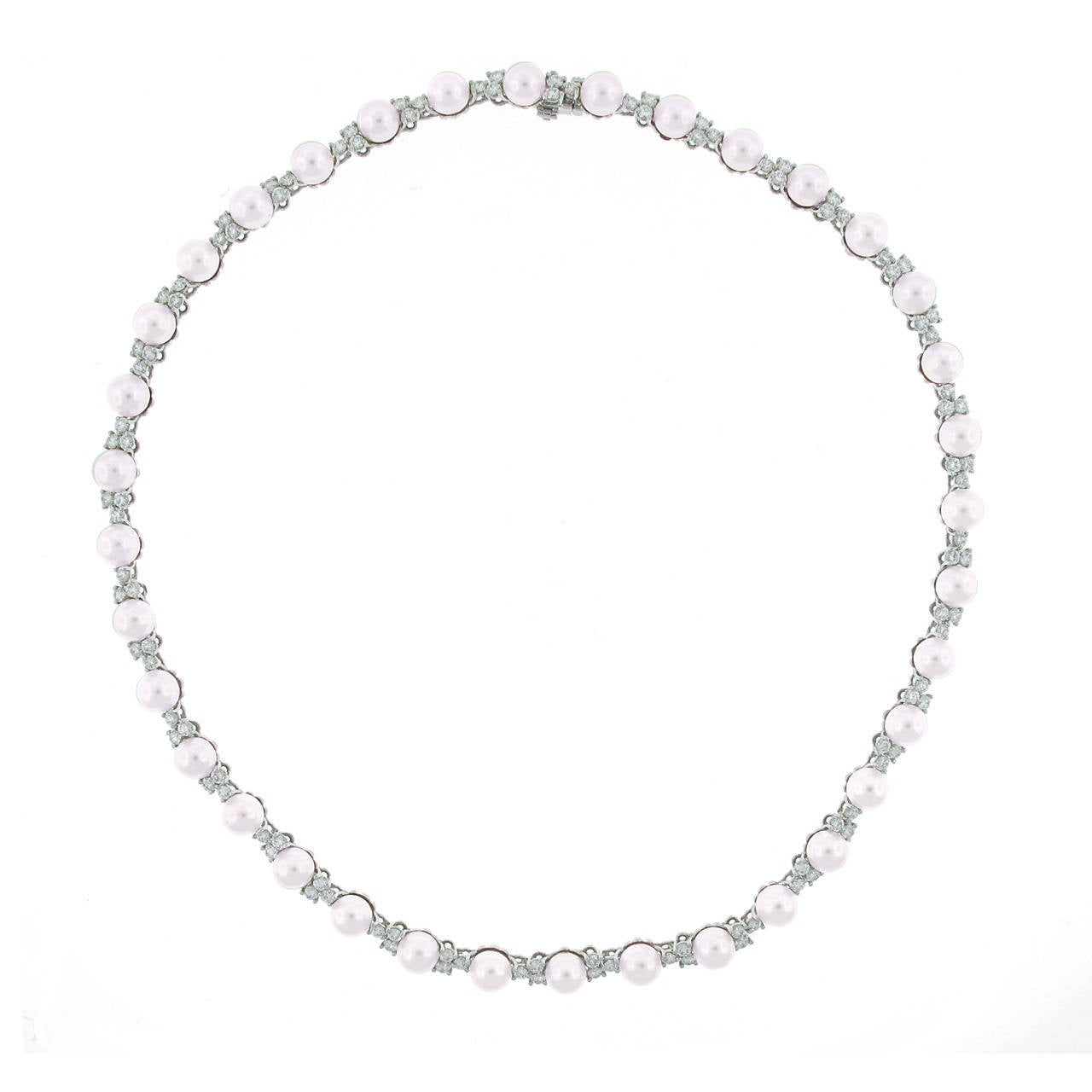 b366a4fc2 Tiffany and Co. Aria Pearl Diamond Platinum Necklace at 1stdibs