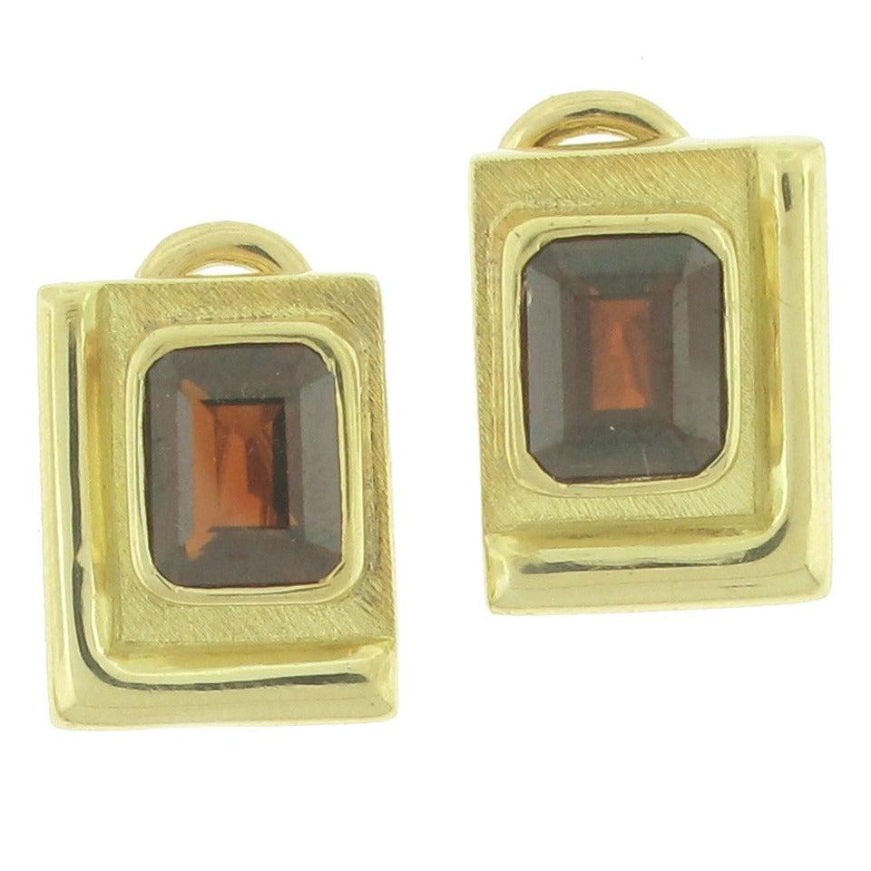 Burle-Marx Garnet Gold Earrings