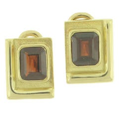Burle-Marx Garnet Gold Earrings
