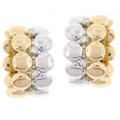 Cartier Diamond  White and Yellow Gold Ear Clips