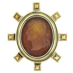 Elizabeth Locke Venetian Glass Intaglio Gold Brooch
