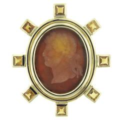 Elizabeth Locke Venetian Glass Intaglio Gold Brooch