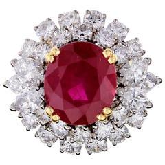 Boucheron Natural Burma 6.83 Carat Ruby Diamond Platinum Cluster Ring