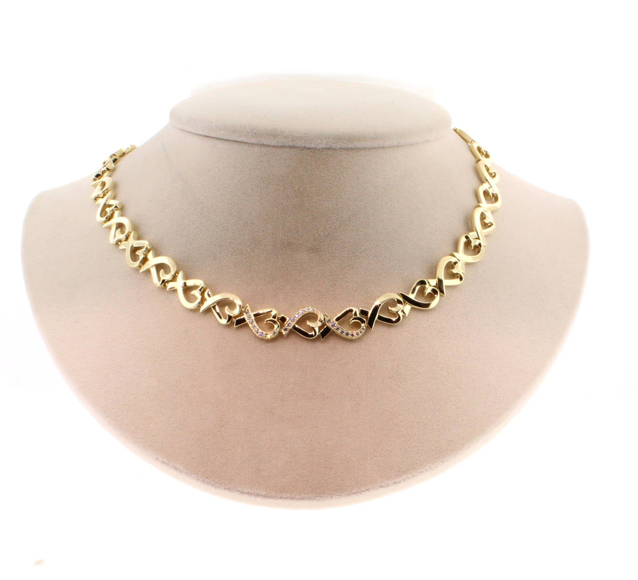 Tiffany & Co. Paloma Picasso Diamond Gold Loving Heart Necklace 3