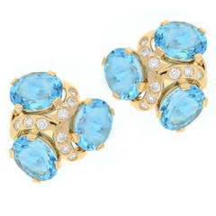 Verdura Blue Topaz Diamond Gold Three Stone Earrings