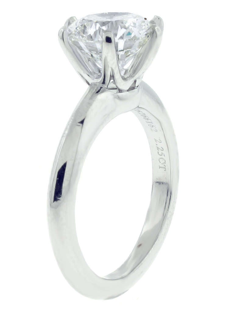 Tiffany & Co. 2.25ct  Diamond Platinum Solitaire Ring 2