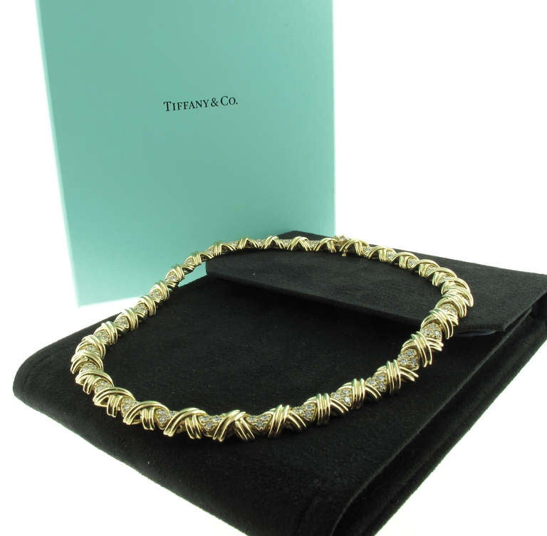 Tiffany And Co Signature Quot X Quot Diamond And Gold Necklace At