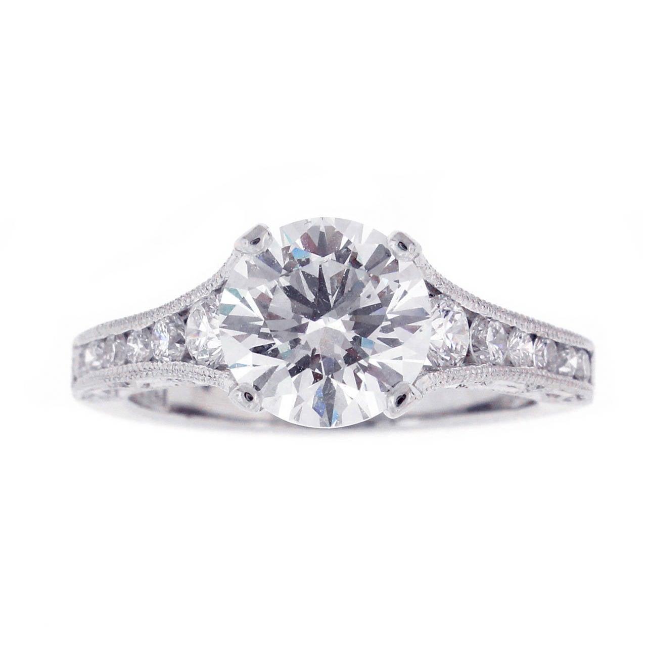 Tacori Reverse Crescent Gia Cert Diamond Platinum Engagement Ring 1
