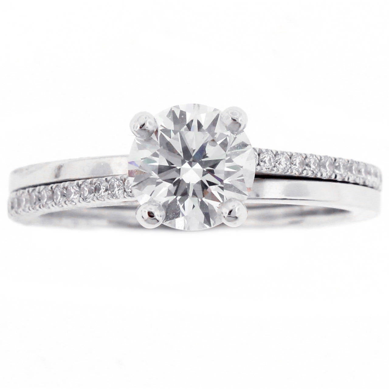 De Beers Diamond Platinum Promise Ring at 1stdibs