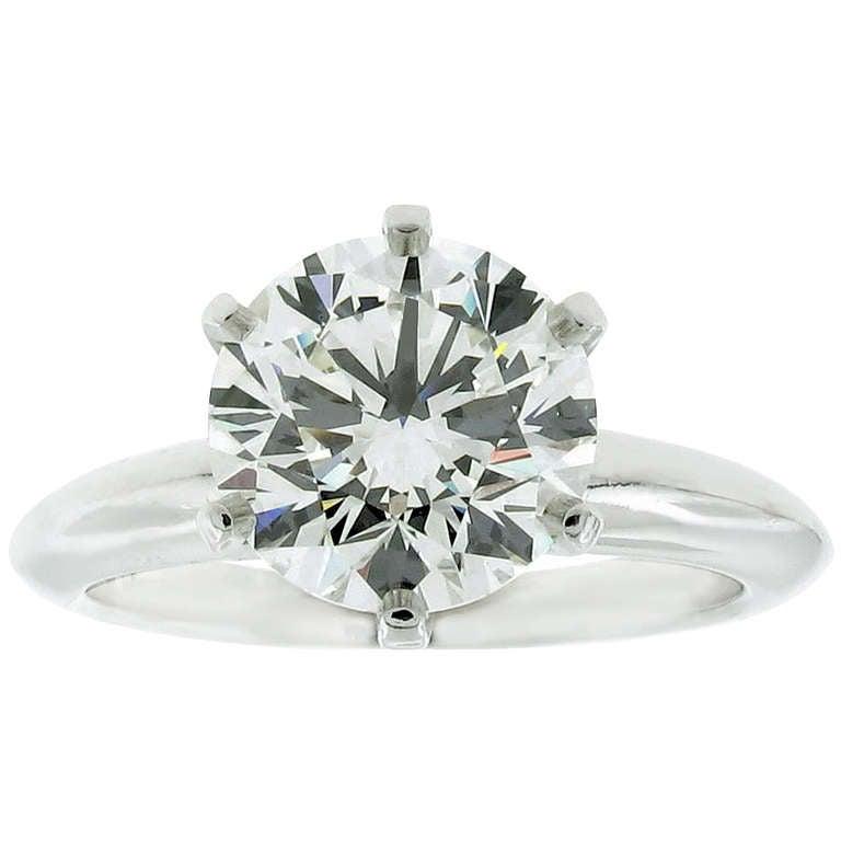 Tiffany & Co. 2.25ct  Diamond Platinum Solitaire Ring 1