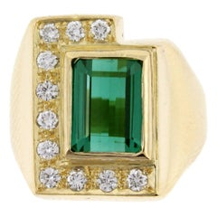 Burle-Marx Tourmaline Diamond Gold Cocktail Ring