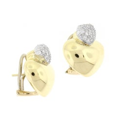 Marlene Stowe Double Heart Diamond Gold Earrings