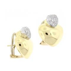 Marlene Stowe Double Heart Diamond Gold Earrings