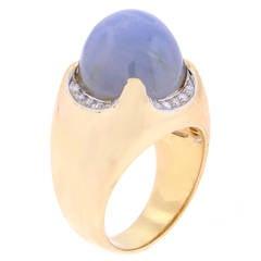 Bulgari 26 Carat Star Sapphire Diamond Gold Dome Ring