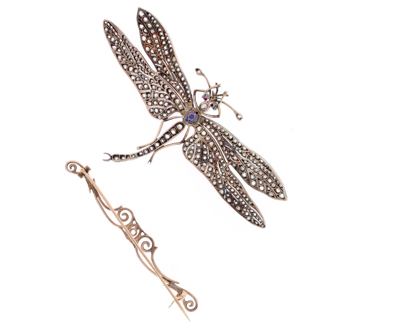 Victorian Sapphire Diamond Silver Gold Dragonfly Brooch In Excellent Condition For Sale In Bethesda, MD
