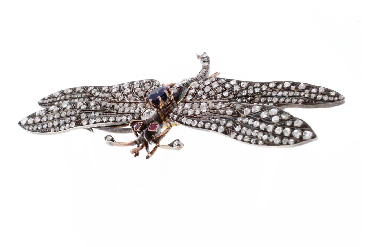 Women's Victorian Sapphire Diamond Silver Gold Dragonfly Brooch For Sale