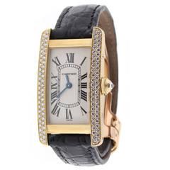 Cartier Yellow Gold Tank Americaine Quartz Wristwatch Ref 2482