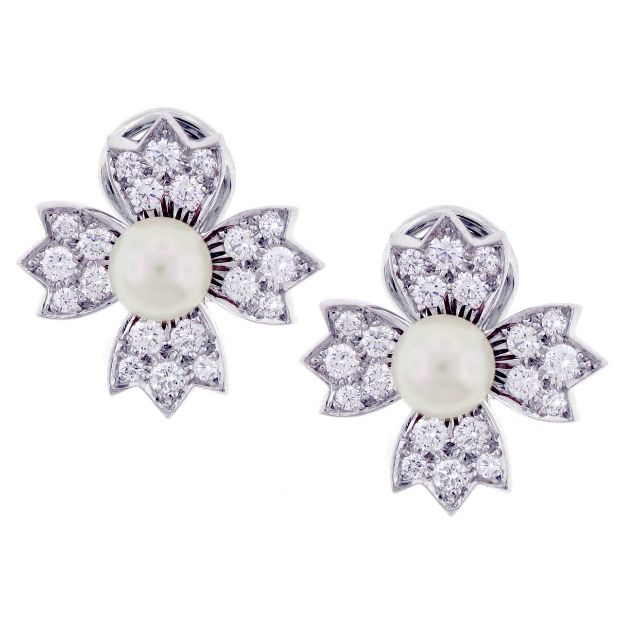 Tiffany & Co. Pearl Diamond Platinum Flower Earrings