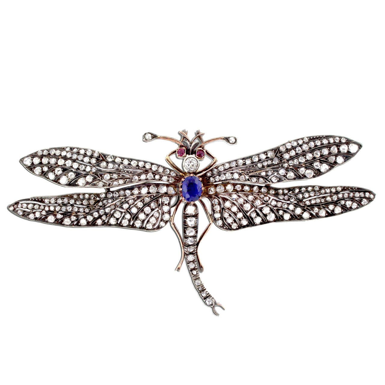 Victorian Sapphire Diamond Silver Gold Dragonfly Brooch 1