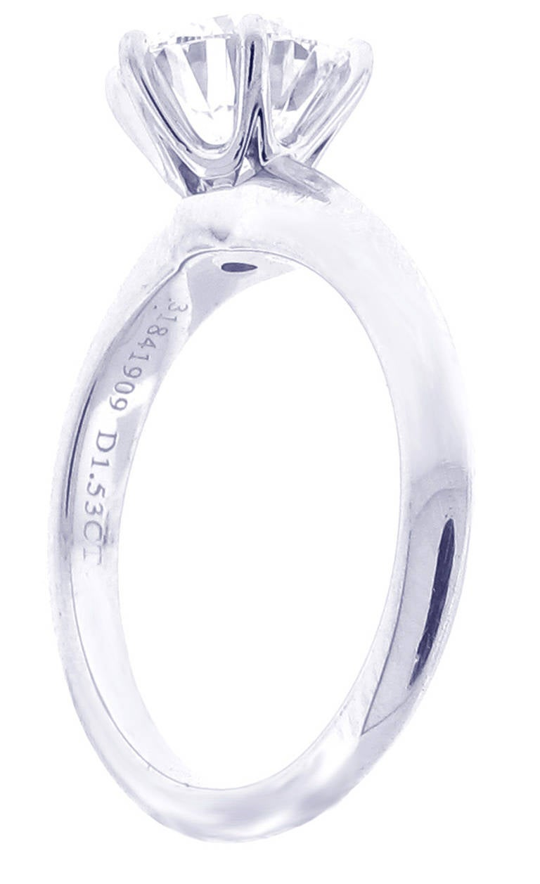 Tiffany and Co Diamond Platinum Solitaire Ring 1 53 carats at 1stdibs
