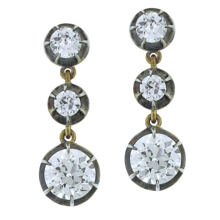Antique European Cut Diamond Earrings