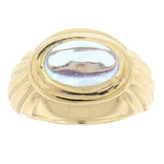 Boucheron Cabochon Aquamarine Gold Ring