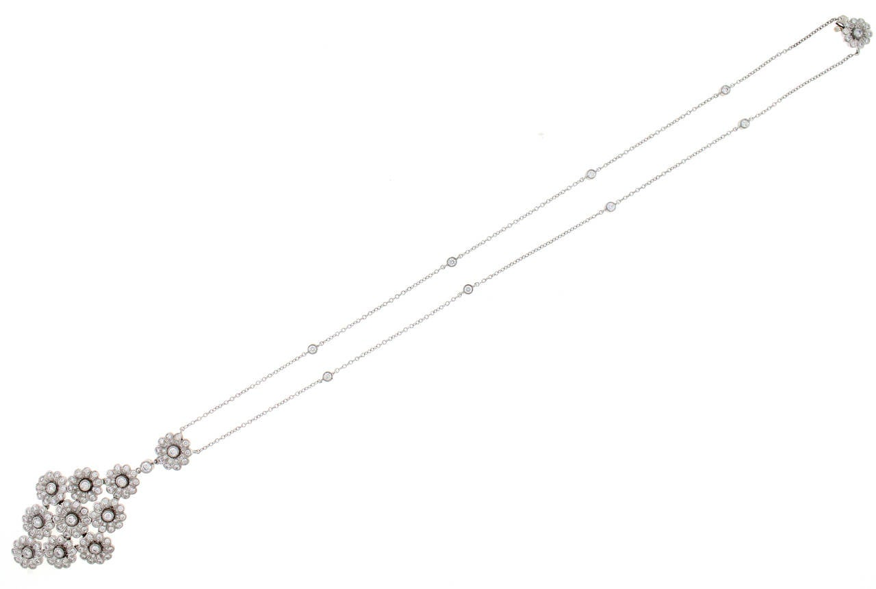 Tiffany & Co. Diamond Platinum Flower Necklace In Excellent Condition For Sale In Bethesda, MD