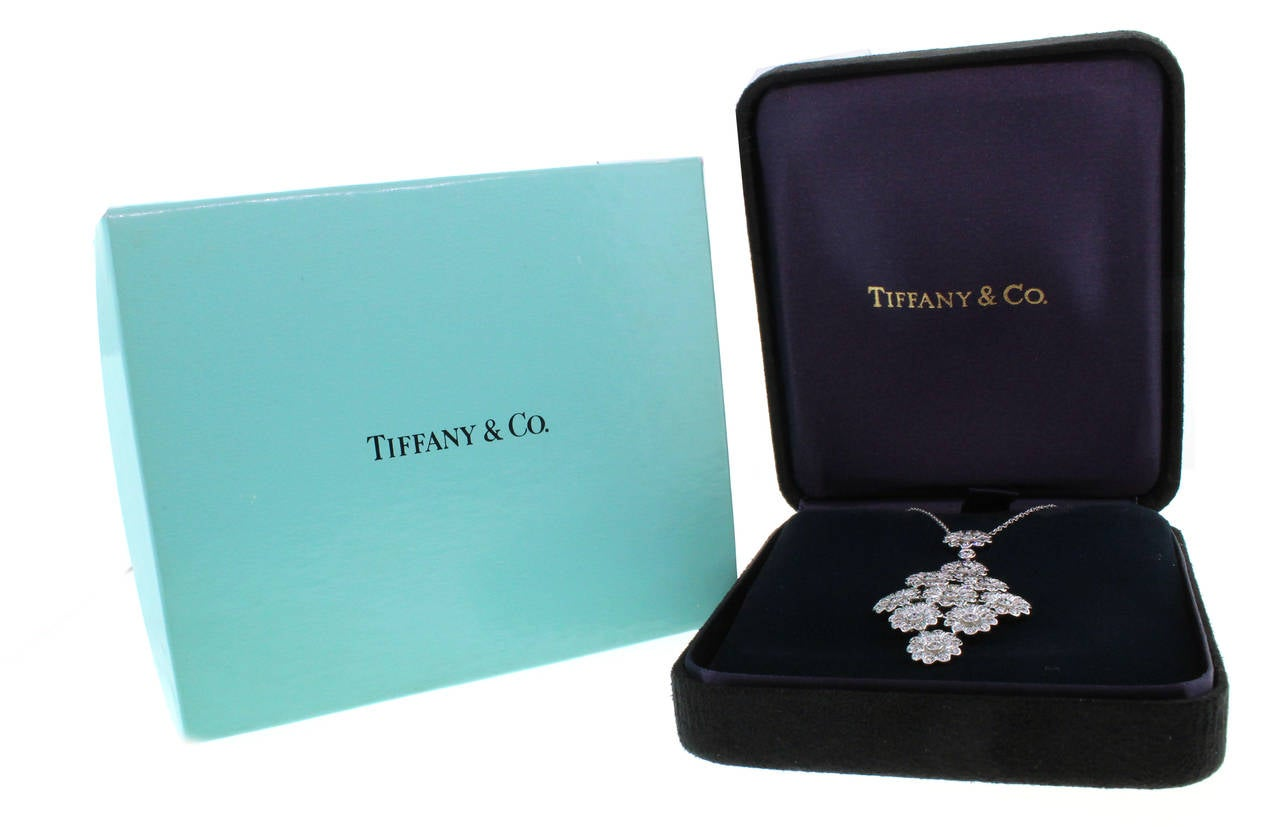 Tiffany & Co. Diamond Platinum Flower Necklace 4