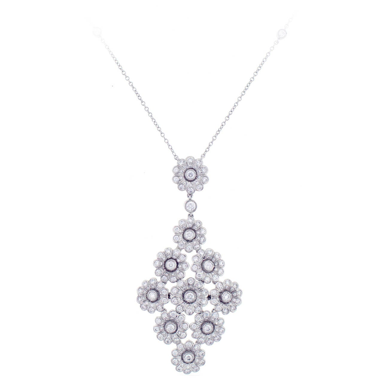 Tiffany & Co. Diamond Platinum Flower Necklace