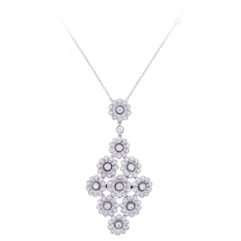 Tiffany & Co. Diamond Platinum Flower Necklace For Sale