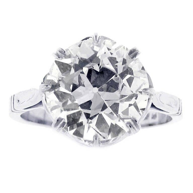 3.94 Carat Antique European-Cut Diamond Ring