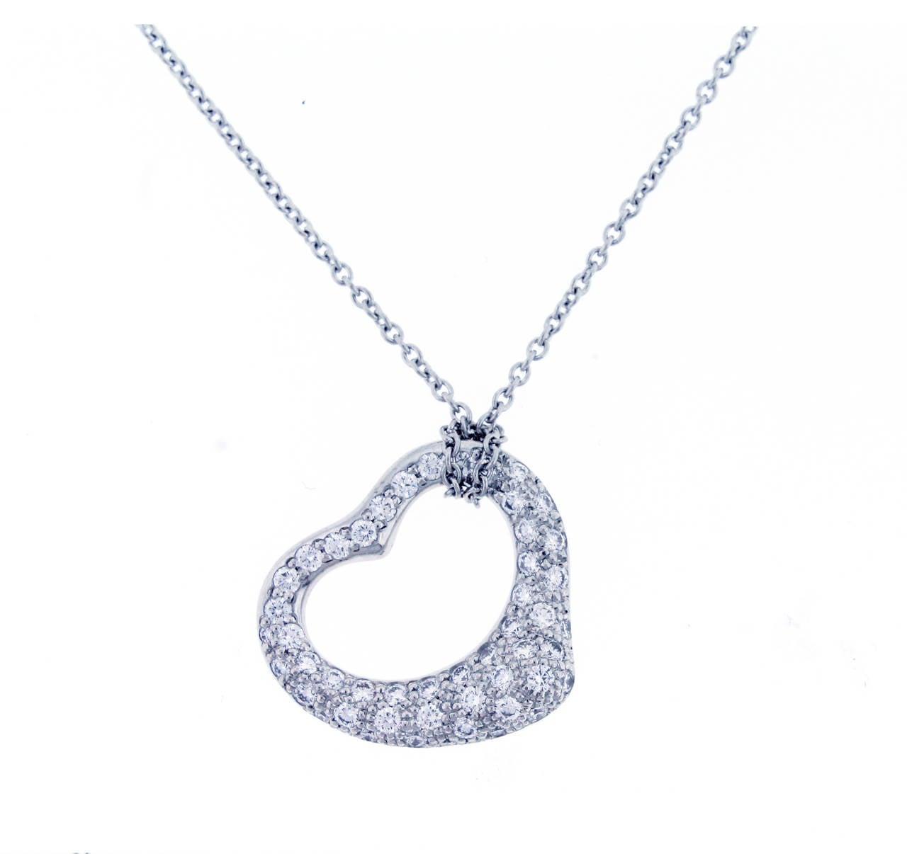 4283ed5e82e59 Tiffany & Co. Elsa Peretti Open Heart Diamond platinum Pendant