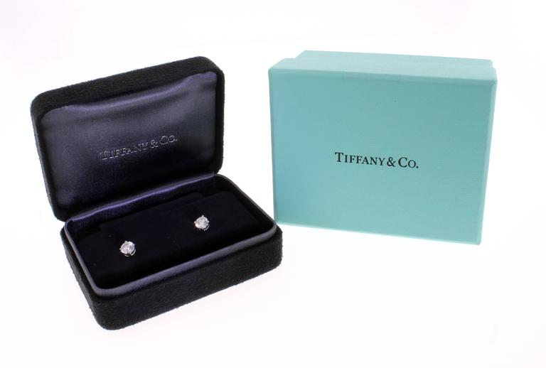 Tiffany & Co. 1.05 Carat Diamond Solitaire Stud Earrings 3
