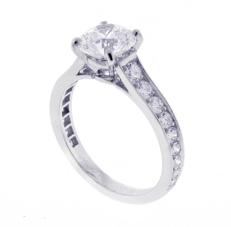 1895 Cartier 1.50 Carat Diamond Platinum Solitaire Ring In Excellent Condition In Bethesda, MD