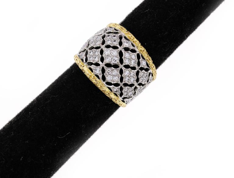 Women's or Men's Buccellati Diamond Gold Band Ring For Sale