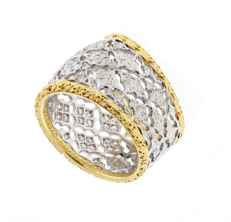 Buccellati Diamond Gold Band Ring For Sale 1